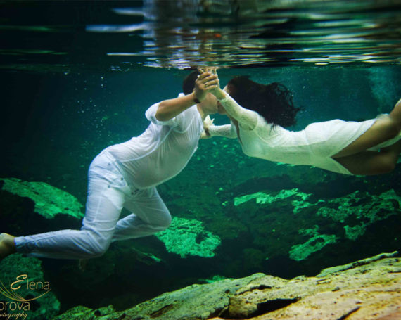 Magical cenotes and underwater photosession. Riviera Maya.