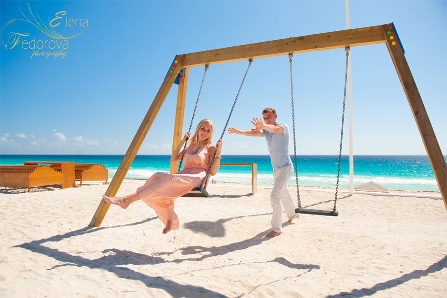 cancun fun engagement photos