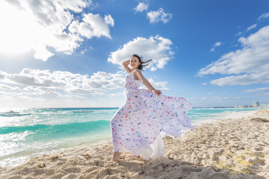 girl dress white cancun beach
