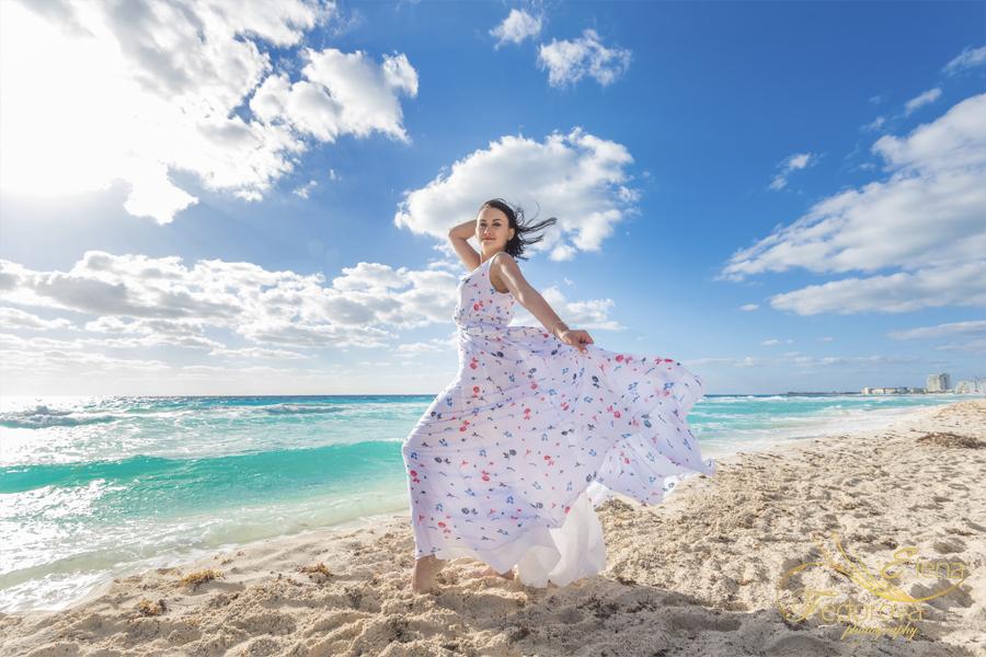 girl dress white cancun beach