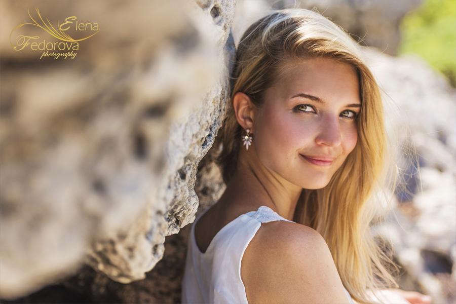 portrait girl near rocks
