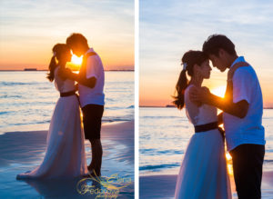 sunset colors couple honeymoon