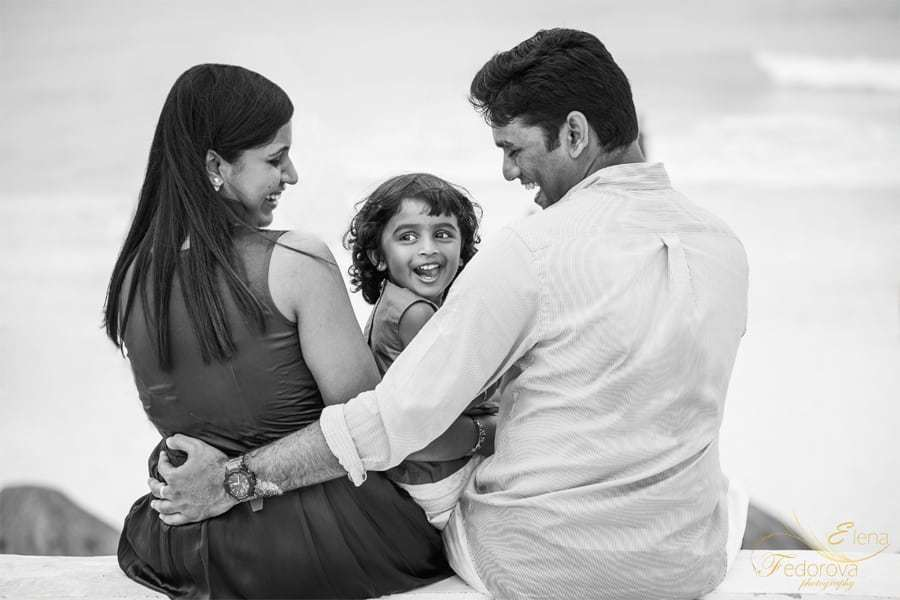 black and white family photography in cancun