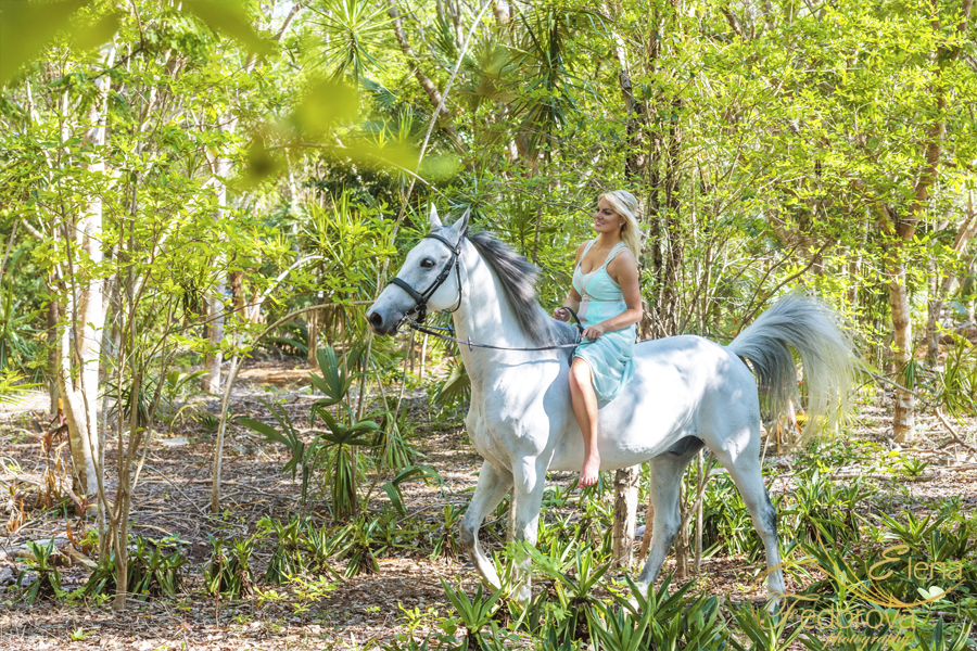 cancun fashion photo shoot on horse