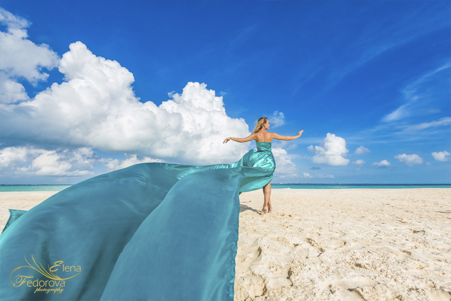 flying dress photography cancun