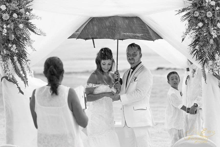 wedding ceremny under the rain omni resort