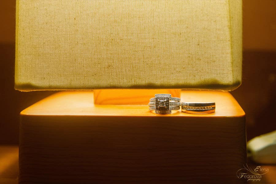 wedding rings under light