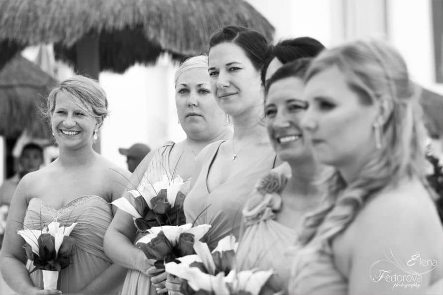 bridesmaids during wed ceremony tulum