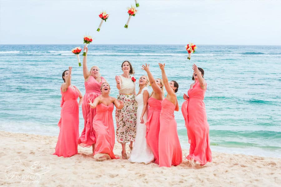 bridesmaids and bride group photo tulum