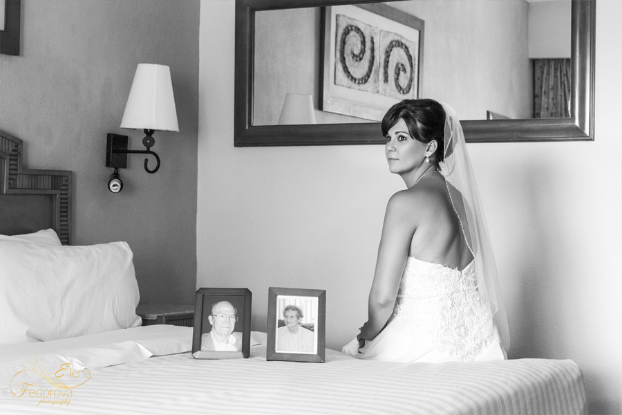 bride portrait in black and white