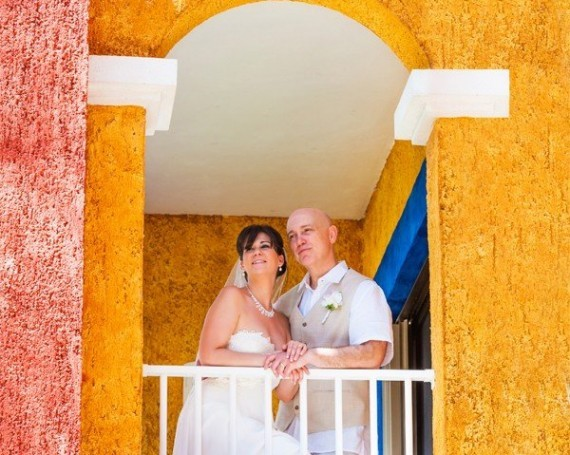 Mexico destination wedding in Barcelo Colonial Riviera Maya.