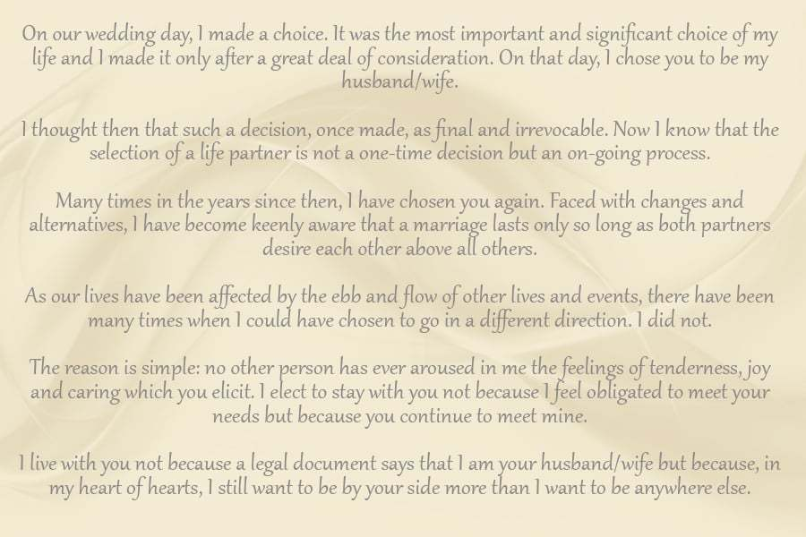 destination vow renewal words