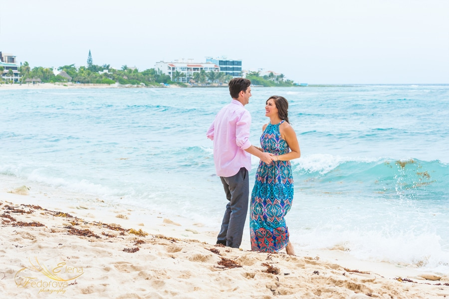 beach engagement photo shoot akumal