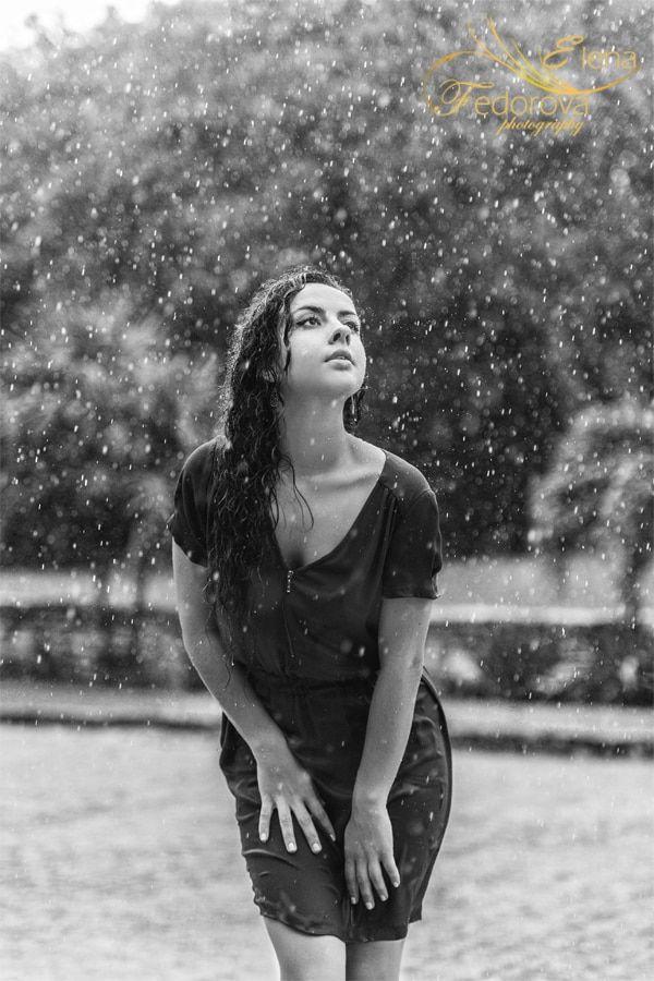 black and white photo rain