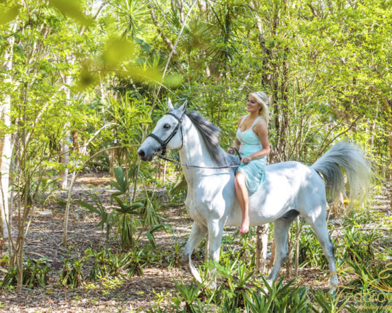 Photo shoot with a horse in Riviera Maya.