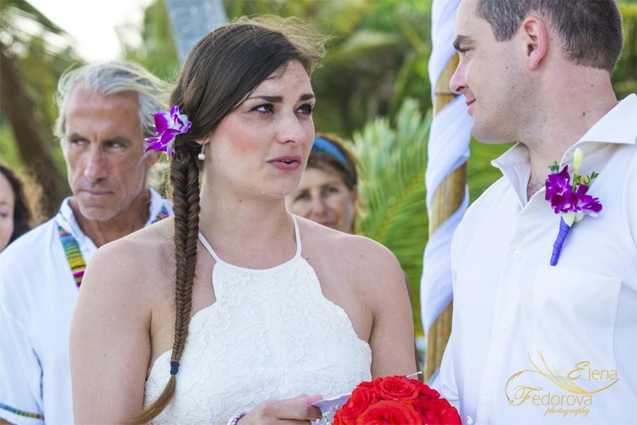 bride during mayan symbolic ceremony