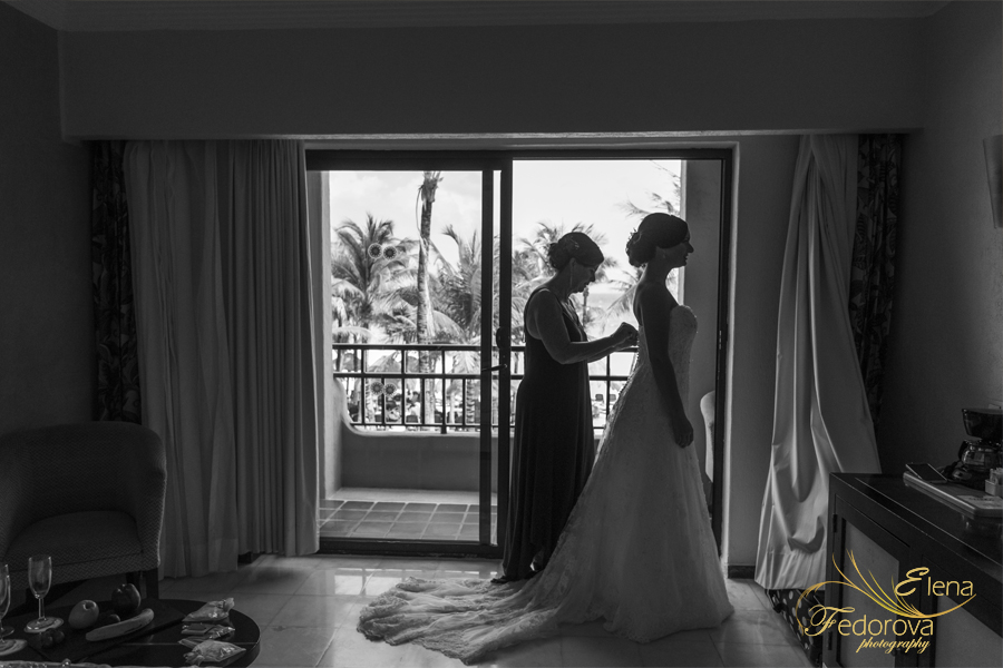 bride getting ready sandos playacar