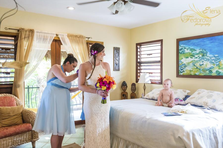 bride before mayan ceremony