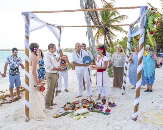 Mayan wedding ceremony on the beach.