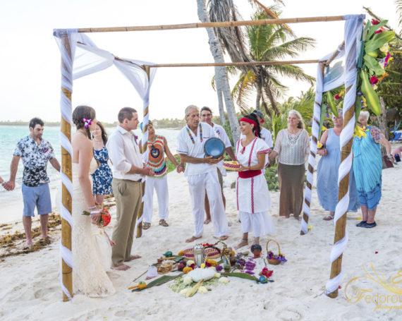 Mayan wedding ceremony on the beach.