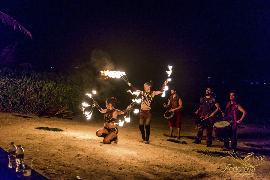 fire show wedding in riviera maya