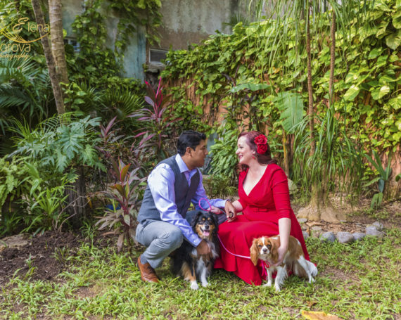 Anniversary photo shoot with dogs in Playa del Carmen.