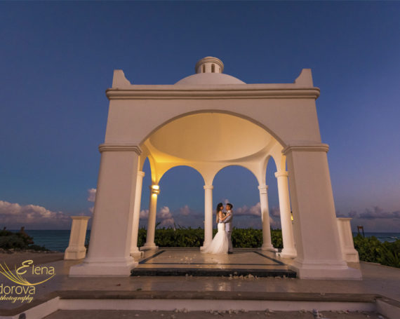 Wedding ceremony at Bahia Principe Tulum Mexico.