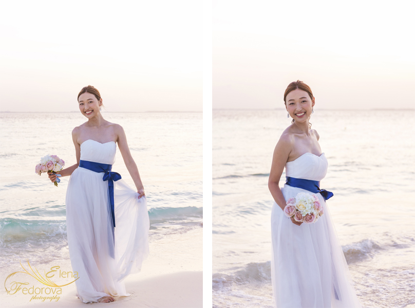 bride beach photo session