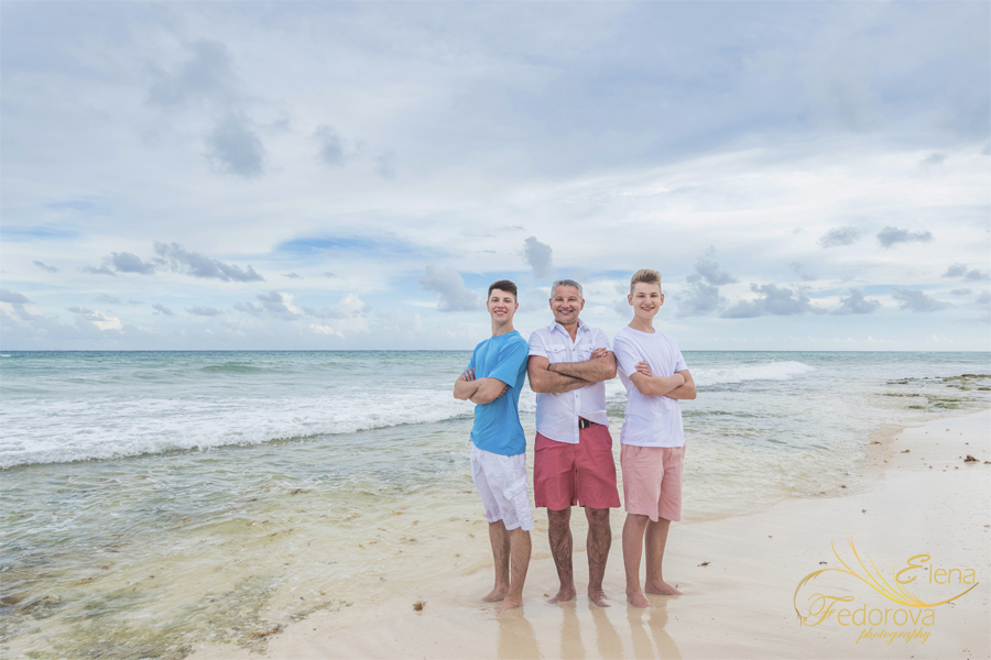 father with his sons beach photos