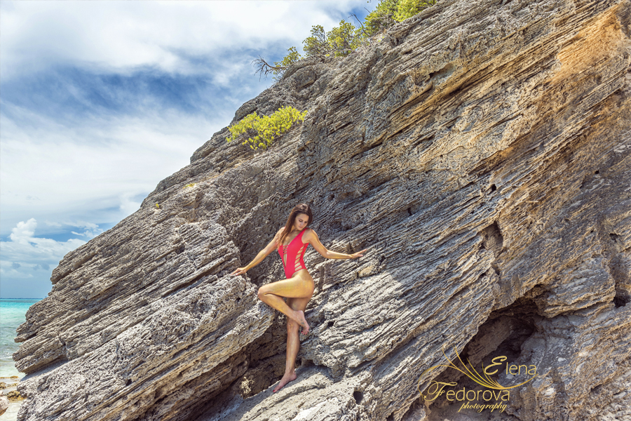 creative photo session rocks isla mujeres