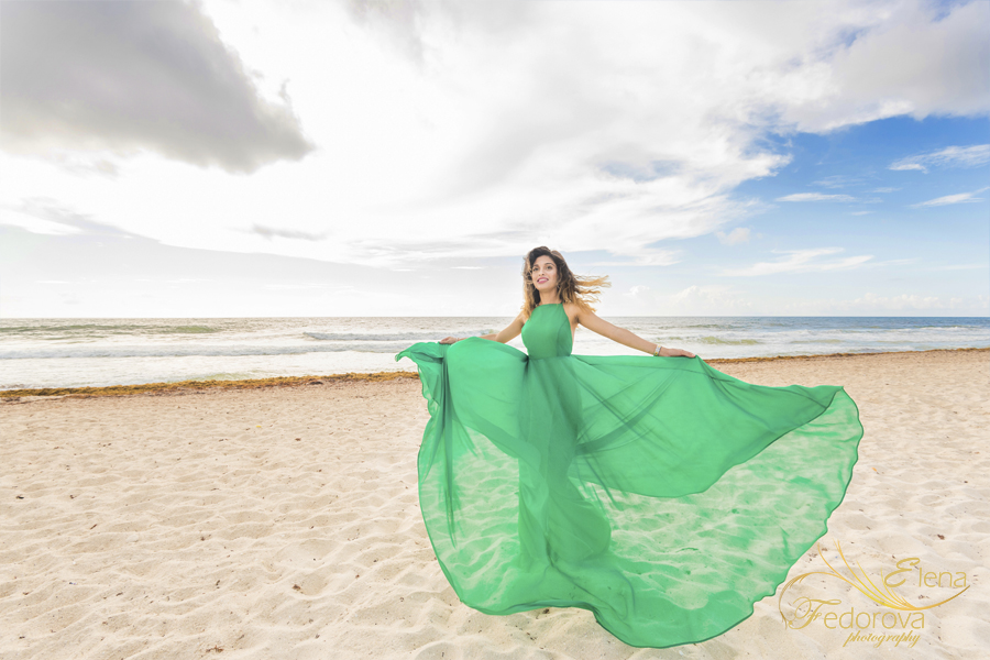 beach photo session in dress