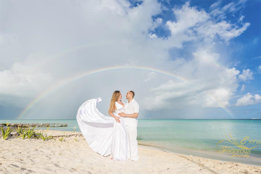 beach photo with rainbow
