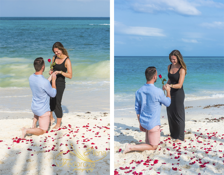 proposing on the beach cancun