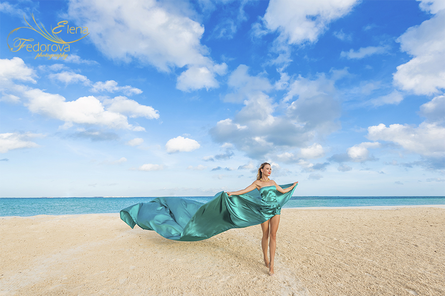 beach photo shoot with dresses