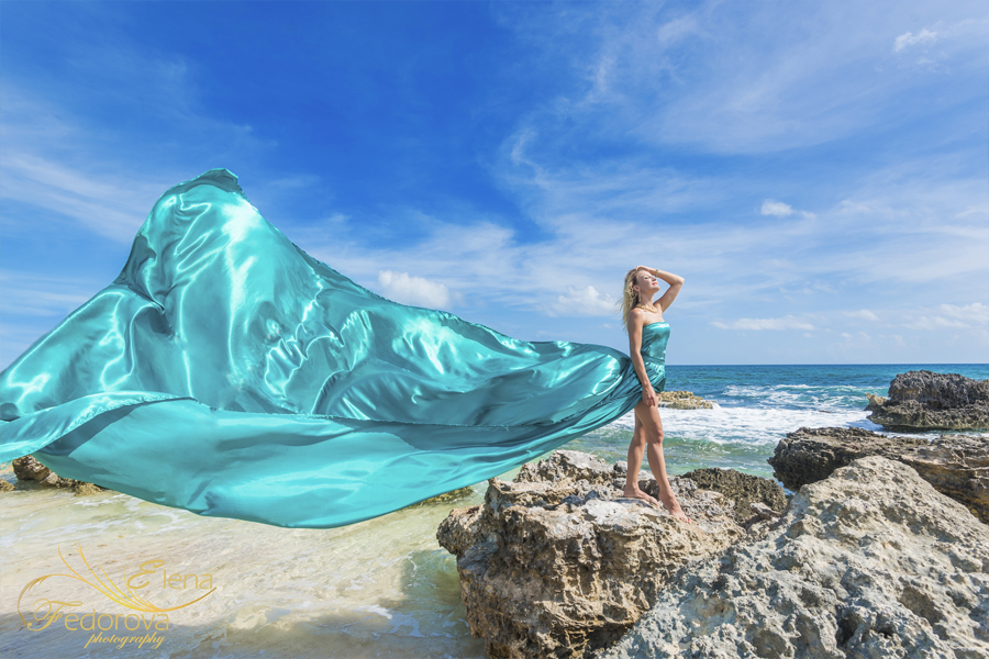 beach style photo shoot with green dress