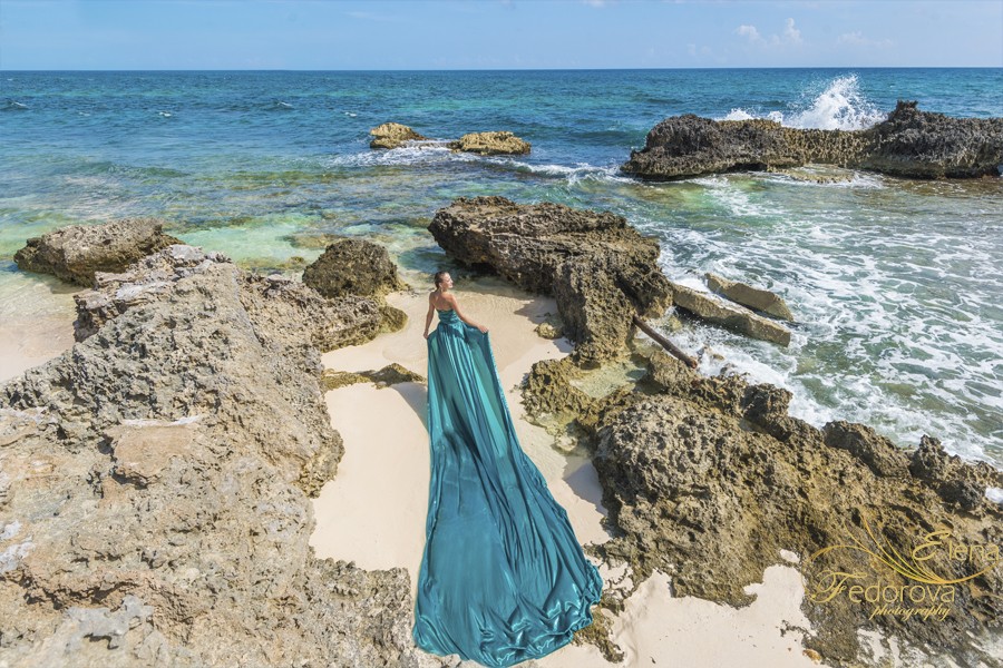 fashion beach photo shoot in dress