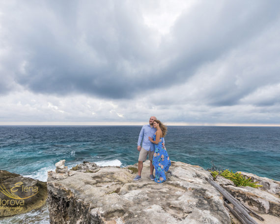 Stormy day engagement love story in Isla Mujeres.