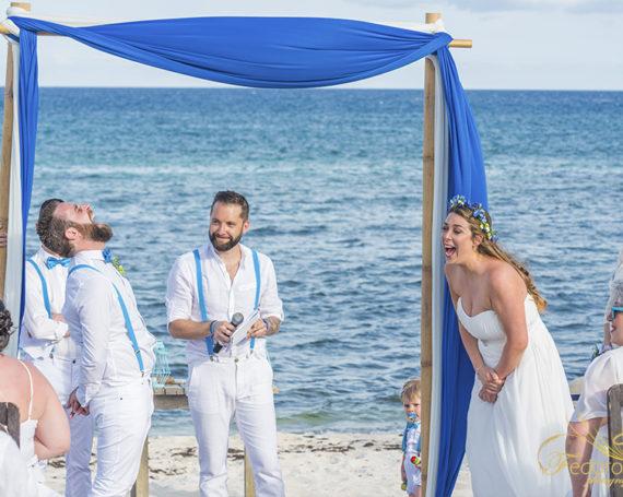 Blue Venado beach club wedding in Riviera Maya.