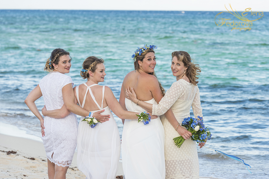 beach club blue venado bridesmaids