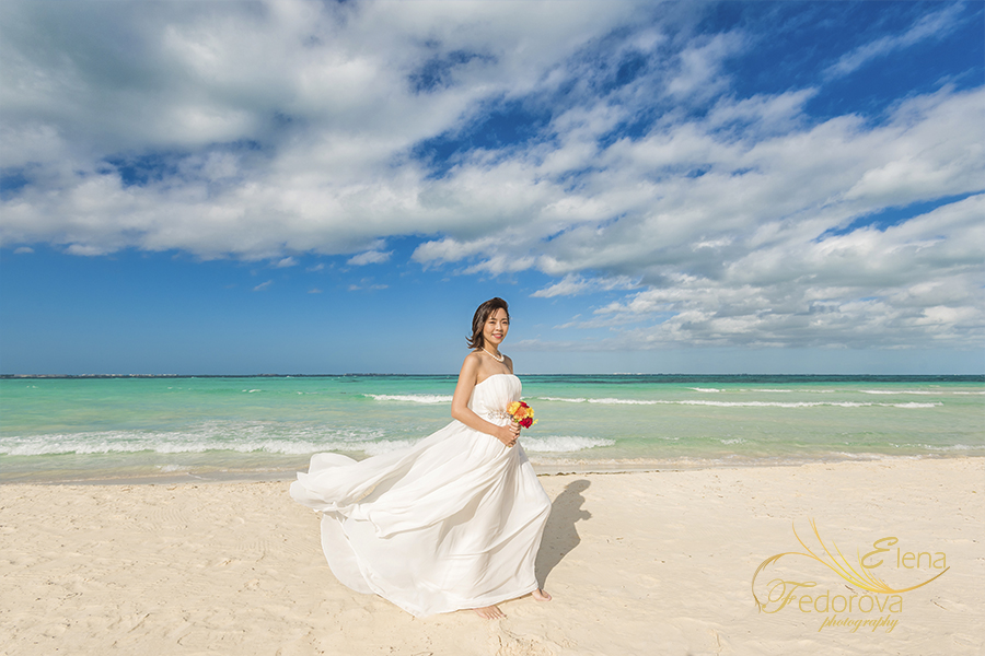beautiful dress beach photo