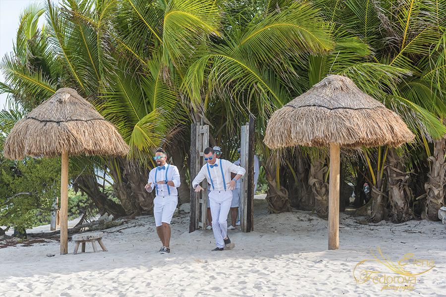 groomsman wedding entrance blue venado beach club
