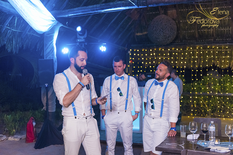 wedding at the blue venado beach club evening photos