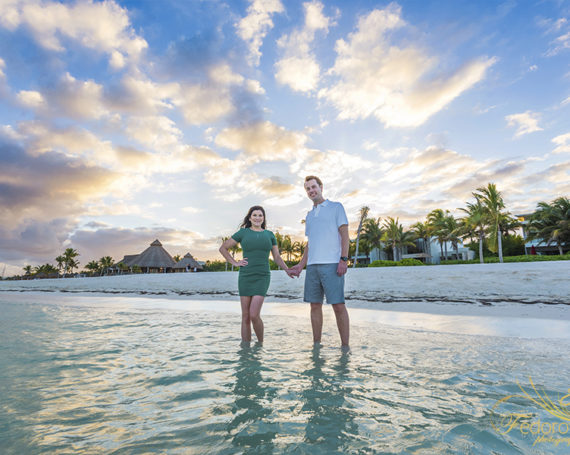 Fairmont Mayakoba engagement sunset photo session.