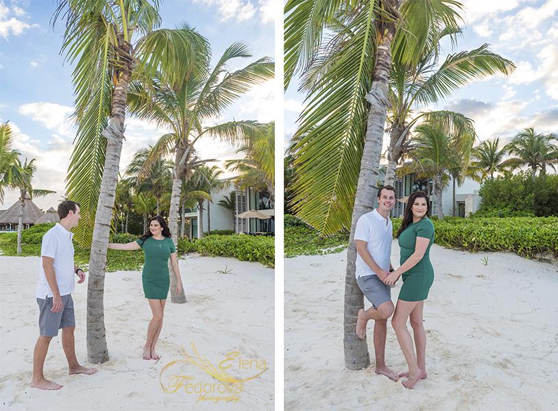 couple near palm trees mayakoba resort