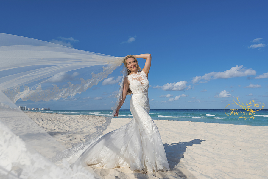 bride beach portrait