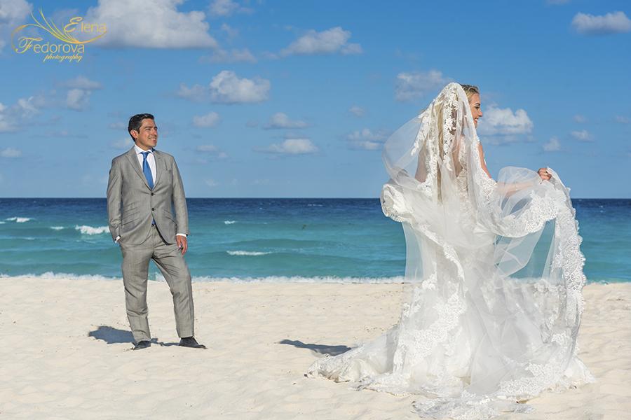 bride groom on beach
