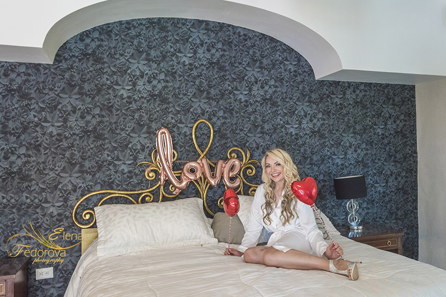 bride on bed with ballons