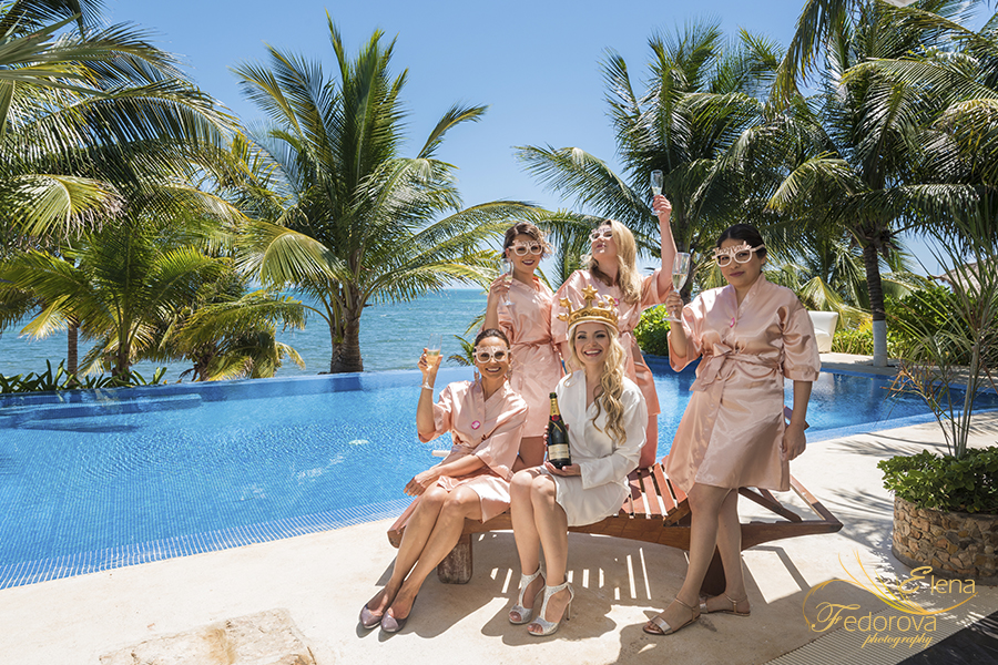 bridesmaids near pool