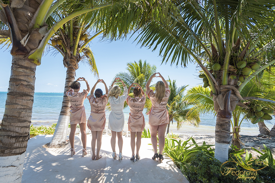 bridesmaids ocean wedding