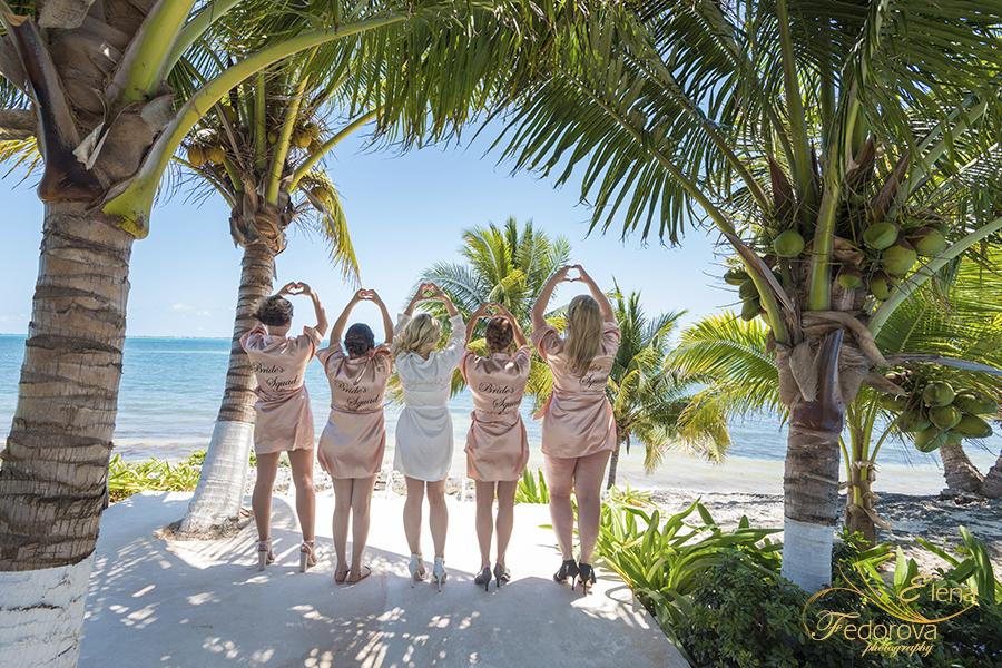bridesmaids ocean wedding